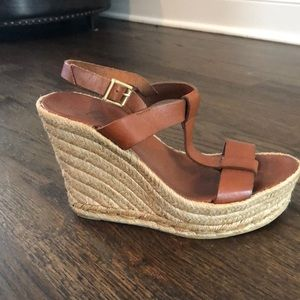 Brown leather Delman Wedges